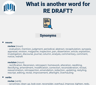 re-draft, synonym re-draft, another word for re-draft, words like re-draft, thesaurus re-draft