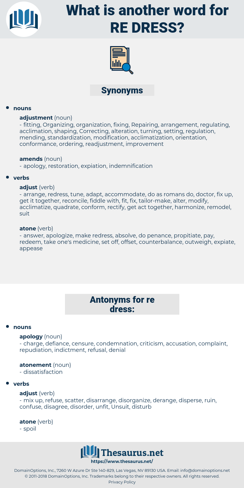 re-dress, synonym re-dress, another word for re-dress, words like re-dress, thesaurus re-dress