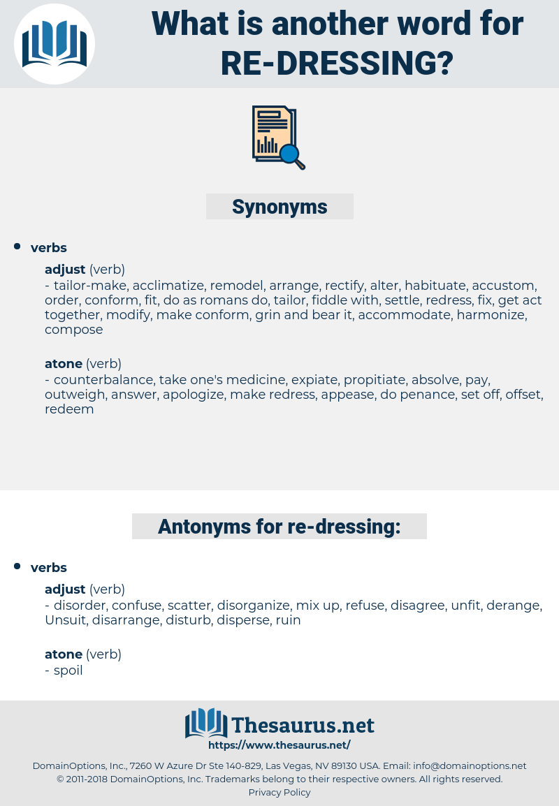 re-dressing, synonym re-dressing, another word for re-dressing, words like re-dressing, thesaurus re-dressing