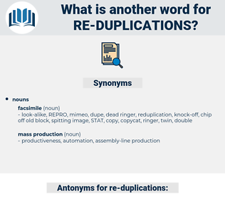 re duplications, synonym re duplications, another word for re duplications, words like re duplications, thesaurus re duplications