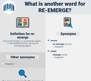 re-emerge, synonym re-emerge, another word for re-emerge, words like re-emerge, thesaurus re-emerge