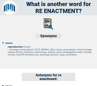 re-enactment, synonym re-enactment, another word for re-enactment, words like re-enactment, thesaurus re-enactment