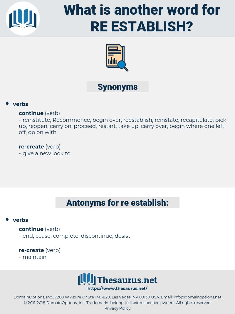 re-establish, synonym re-establish, another word for re-establish, words like re-establish, thesaurus re-establish