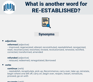re established, synonym re established, another word for re established, words like re established, thesaurus re established