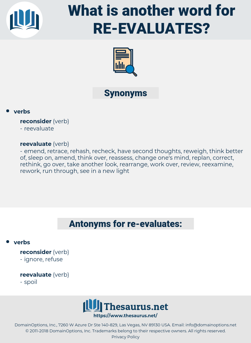 re-evaluates, synonym re-evaluates, another word for re-evaluates, words like re-evaluates, thesaurus re-evaluates