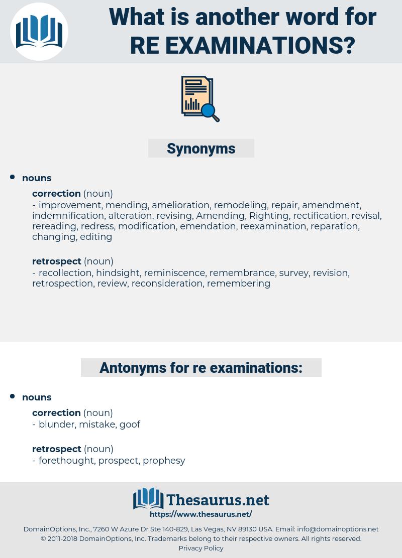 re-examinations, synonym re-examinations, another word for re-examinations, words like re-examinations, thesaurus re-examinations
