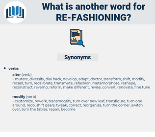 re-fashioning, synonym re-fashioning, another word for re-fashioning, words like re-fashioning, thesaurus re-fashioning