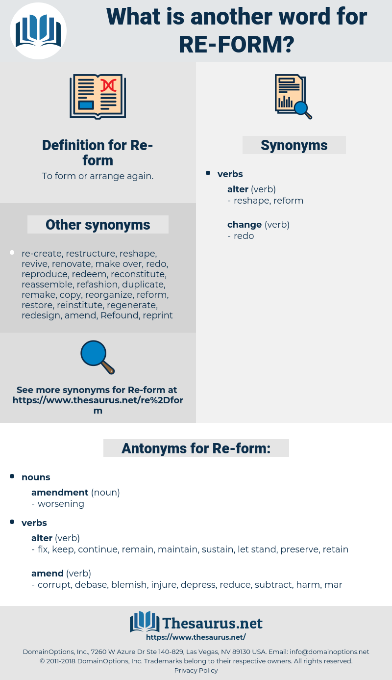 Re-form, synonym Re-form, another word for Re-form, words like Re-form, thesaurus Re-form