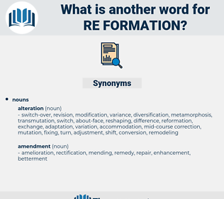 re-formation, synonym re-formation, another word for re-formation, words like re-formation, thesaurus re-formation