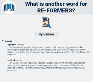 re-formers, synonym re-formers, another word for re-formers, words like re-formers, thesaurus re-formers