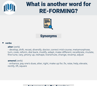 Re-forming, synonym Re-forming, another word for Re-forming, words like Re-forming, thesaurus Re-forming