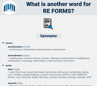 re-forms, synonym re-forms, another word for re-forms, words like re-forms, thesaurus re-forms