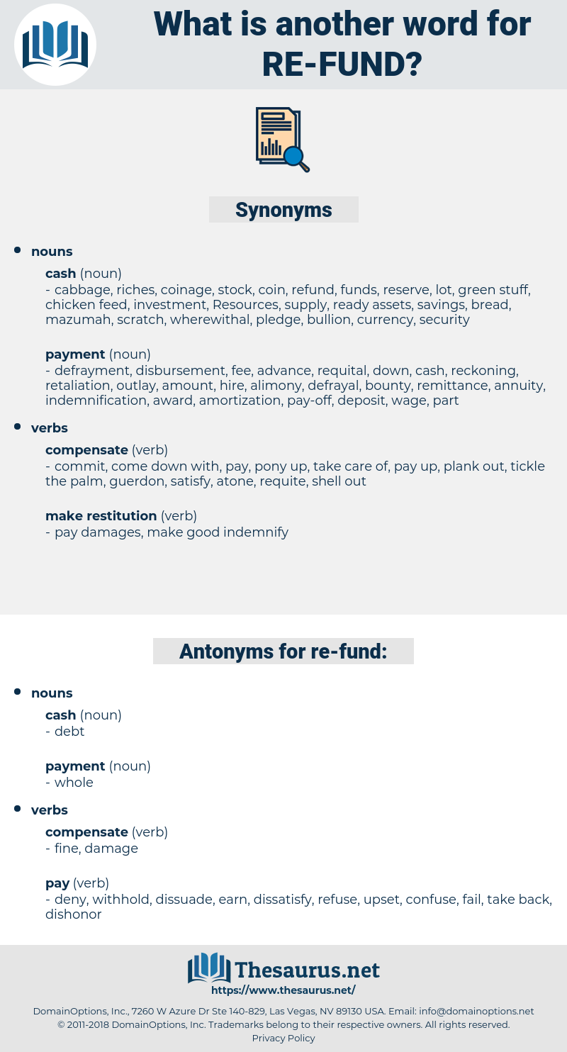 re-fund, synonym re-fund, another word for re-fund, words like re-fund, thesaurus re-fund