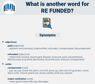 re-funded, synonym re-funded, another word for re-funded, words like re-funded, thesaurus re-funded