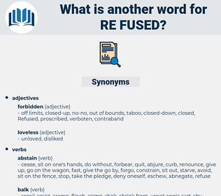re-fused, synonym re-fused, another word for re-fused, words like re-fused, thesaurus re-fused