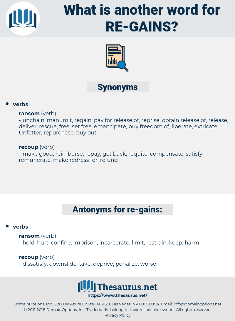 re gains, synonym re gains, another word for re gains, words like re gains, thesaurus re gains