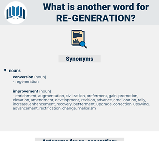 re-generation, synonym re-generation, another word for re-generation, words like re-generation, thesaurus re-generation