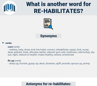 re-habilitates, synonym re-habilitates, another word for re-habilitates, words like re-habilitates, thesaurus re-habilitates