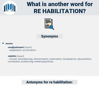 re-habilitation, synonym re-habilitation, another word for re-habilitation, words like re-habilitation, thesaurus re-habilitation