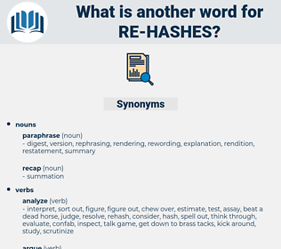 re-hashes, synonym re-hashes, another word for re-hashes, words like re-hashes, thesaurus re-hashes