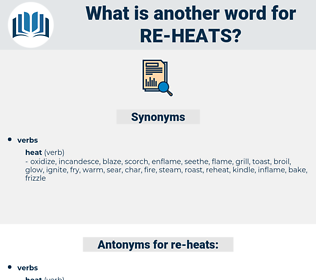 re heats, synonym re heats, another word for re heats, words like re heats, thesaurus re heats