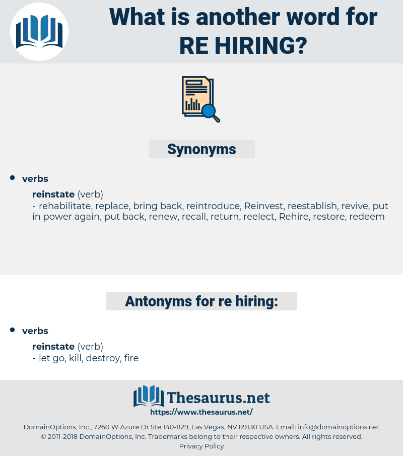 re-hiring, synonym re-hiring, another word for re-hiring, words like re-hiring, thesaurus re-hiring