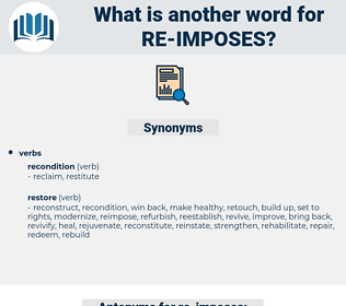 re-imposes, synonym re-imposes, another word for re-imposes, words like re-imposes, thesaurus re-imposes