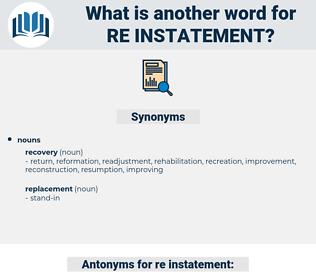 re-instatement, synonym re-instatement, another word for re-instatement, words like re-instatement, thesaurus re-instatement