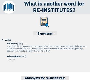 re-institutes, synonym re-institutes, another word for re-institutes, words like re-institutes, thesaurus re-institutes