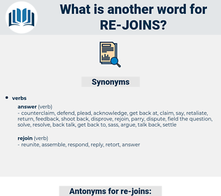 re-joins, synonym re-joins, another word for re-joins, words like re-joins, thesaurus re-joins