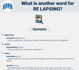 re lapsing, synonym re lapsing, another word for re lapsing, words like re lapsing, thesaurus re lapsing