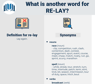 re-lay, synonym re-lay, another word for re-lay, words like re-lay, thesaurus re-lay