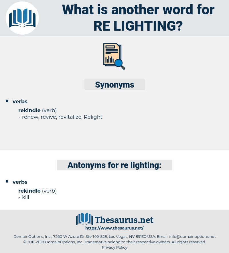re lighting, synonym re lighting, another word for re lighting, words like re lighting, thesaurus re lighting