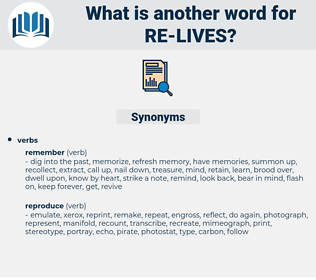 re-lives, synonym re-lives, another word for re-lives, words like re-lives, thesaurus re-lives