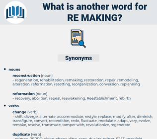 re-making, synonym re-making, another word for re-making, words like re-making, thesaurus re-making