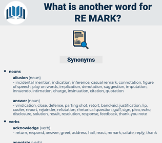 Re-mark, synonym Re-mark, another word for Re-mark, words like Re-mark, thesaurus Re-mark