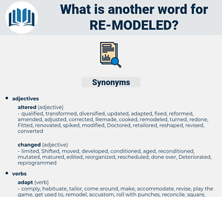 re modeled, synonym re modeled, another word for re modeled, words like re modeled, thesaurus re modeled
