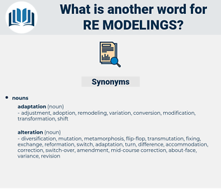 re-modelings, synonym re-modelings, another word for re-modelings, words like re-modelings, thesaurus re-modelings