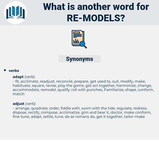 re-models, synonym re-models, another word for re-models, words like re-models, thesaurus re-models