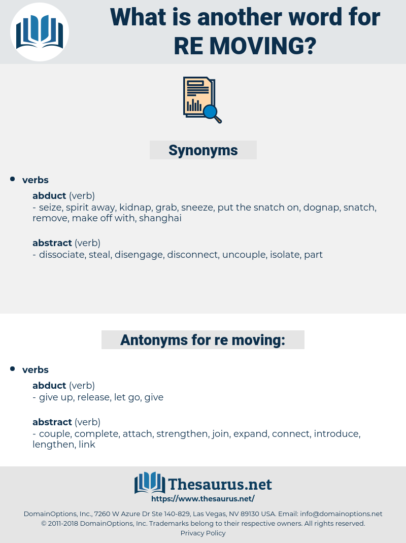 re-moving, synonym re-moving, another word for re-moving, words like re-moving, thesaurus re-moving