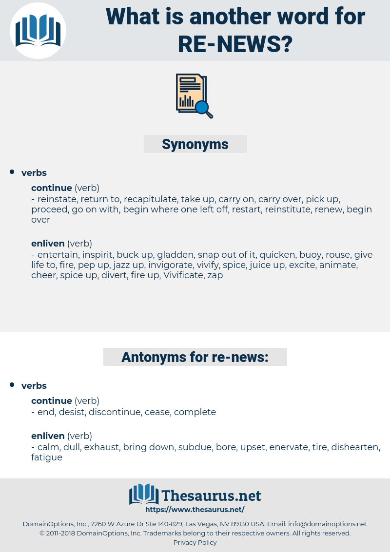 re-news, synonym re-news, another word for re-news, words like re-news, thesaurus re-news