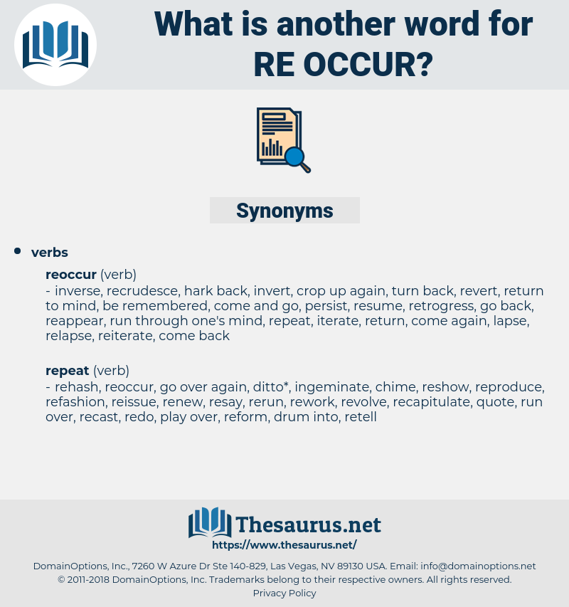re-occur, synonym re-occur, another word for re-occur, words like re-occur, thesaurus re-occur