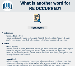 re-occurred, synonym re-occurred, another word for re-occurred, words like re-occurred, thesaurus re-occurred