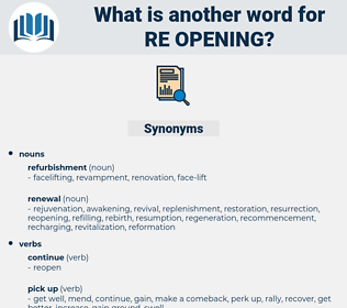 re opening, synonym re opening, another word for re opening, words like re opening, thesaurus re opening