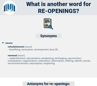 re-openings, synonym re-openings, another word for re-openings, words like re-openings, thesaurus re-openings