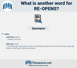 re-opens, synonym re-opens, another word for re-opens, words like re-opens, thesaurus re-opens