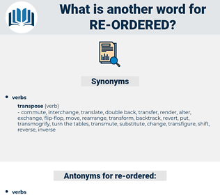 re-ordered, synonym re-ordered, another word for re-ordered, words like re-ordered, thesaurus re-ordered