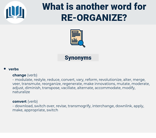 re-organize, synonym re-organize, another word for re-organize, words like re-organize, thesaurus re-organize