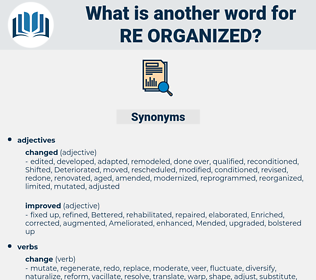 re organized, synonym re organized, another word for re organized, words like re organized, thesaurus re organized