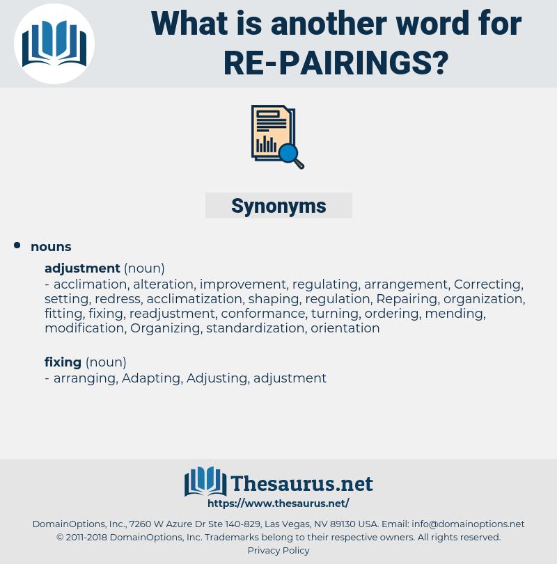 re-pairings, synonym re-pairings, another word for re-pairings, words like re-pairings, thesaurus re-pairings